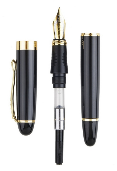 Jinhao X450 Black M Nib Gold Trim 2015 New ZK32300 [$2.39 FS]